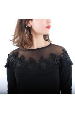 Robe Dame Noir Brodé Et...